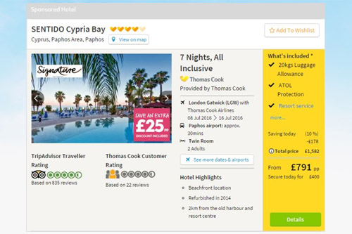 Sponsored hotel listings on search result page.