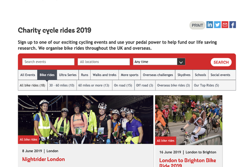 British Heart Foundation events search bar redesign