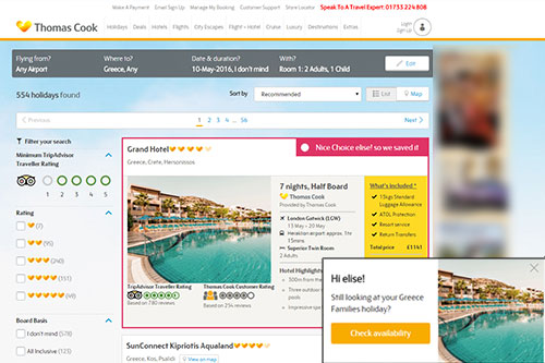 Thomas Cook case study. Abandoned booker stored previous hotel selection & highlighted for user.