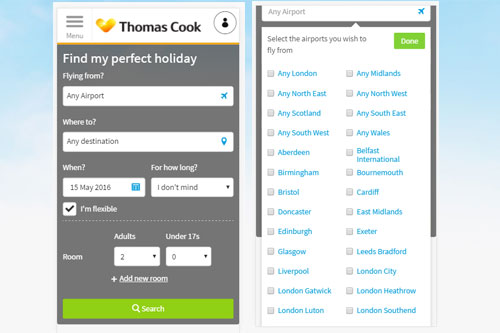 Thomas Cook case study. Search panel optimisation on mobile phone