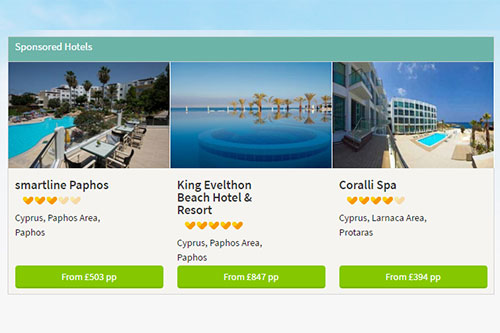 Thomas Cook case study. Sponsored hotel listings on search result page.